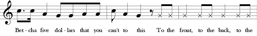 C Major. 4/4 Time signature. Fourth three measures of Here We Go Zudio.