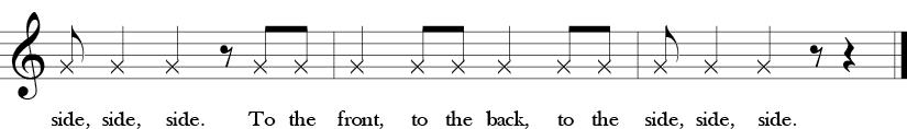 C Major. 4/4 Time signature. Last three measures of Here We Go Zudio.