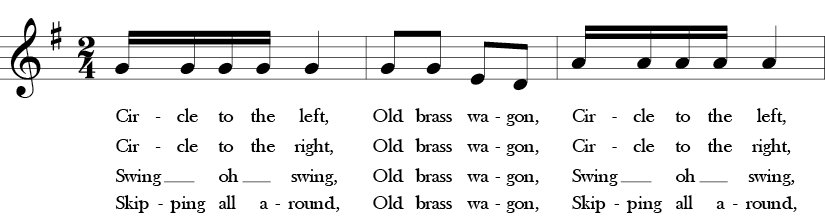 G Major. 2/4 Time signature. First three measures of Old Brass Wagon.