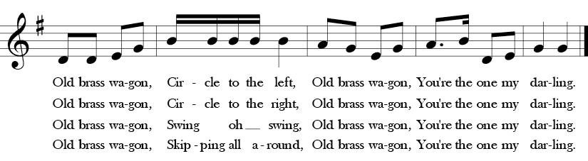 G Major. 2/4 Time signature. Last five measures of Old Brass Wagon.