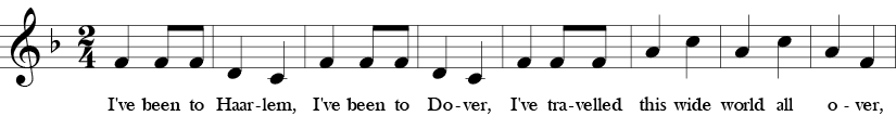 F major. 2/4 Time signature. First eight measures of I've Been to Harlem.