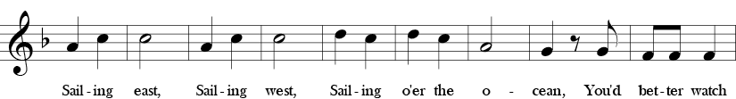 F major. 2/4 Time signature. Third seven measures of I've Been to Harlem.