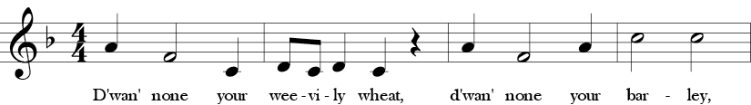 F major. 4/4 Time signature. First four measures of Weevily Wheat.
