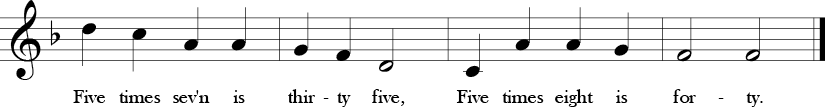 F major. 4/4 Time signature. Last four measures of Weevily Wheat.