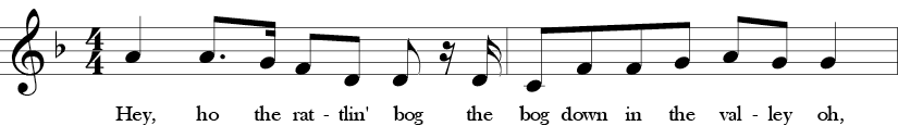 F Major. 4/4 Time signature. First two measures of Rattlin' Bog.