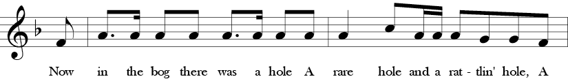F Major. 4/4 Time signature. Third two measures of Rattlin' Bog.