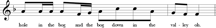 F Major. 4/4 Time signature. Fourth two measures of Rattlin' Bog.