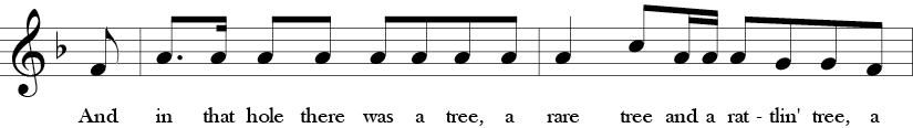 F Major. 4/4 Time signature. Fifth two measures of Rattlin' Bog.