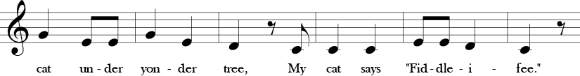 C Major. 2/4 Time signature. Second six measures of I Bought Me a Cat.