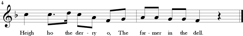 F Major. 4/4 Time signature. Last two measures of Farmer in the Dell.