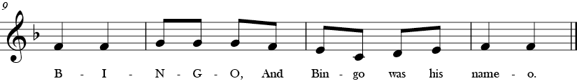 F Major. 2/4 Time Signature. Last four measures of Bingo.