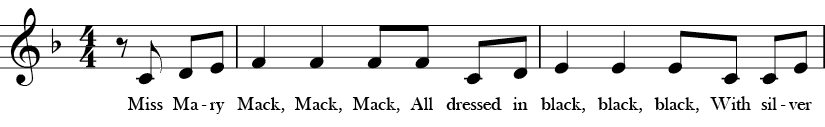 F Major. 4/4 Time signature. Pickup to first two measures of Miss Mary Mack.