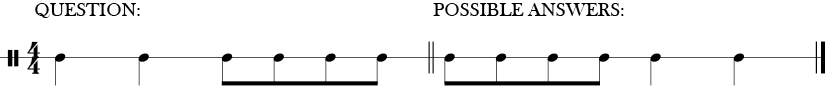 4/4 time signature for two bars of a rhythmic question answer pattern.