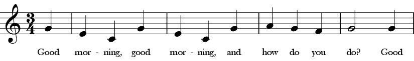 C Major. 3/4 Time signature. Pickup to first four measures of Good Morning.