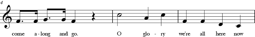 C Major. 4/4 Time signature. Second three measures of Everbody's Welcome.