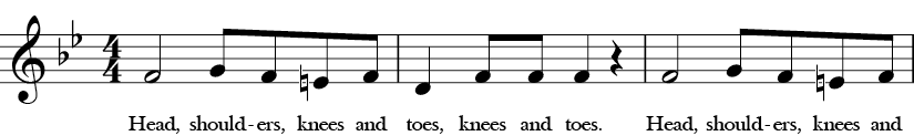 Bb Major. 4/4 Time signature. First three measures of Head and Shoulders.