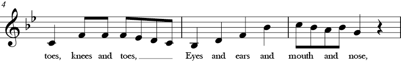 Bb Major. 4/4 Time signature. Second three measures of Head and Shoulders.