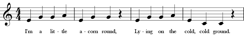 C Major. 4/4 Time signature. First four measures of I'm a Nut.