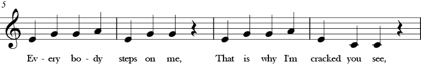 C Major. 4/4 Time signature. Second four measures of I'm a Nut.