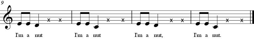 C Major. 4/4 Time signature. Last four measures of I'm a Nut.