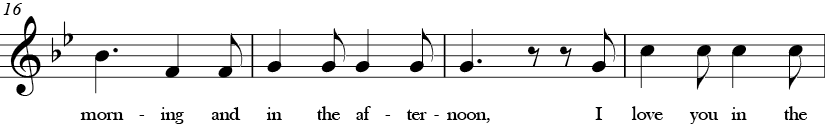 Bb Major. 6/8 Time signature. Fourth four measures of Skidamarink.