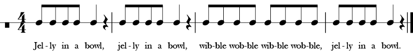4/4 Time signature. Four measures rhythm only for Jelly in a Bowl.