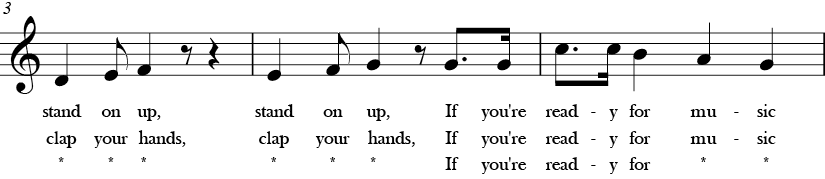 "4/4 Time Signature. C Major. Second 3 measures of ""If You're Ready for Music"" which is the end of the last phrase, then again has the G-C and then descending motion."