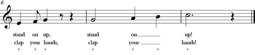 "4/4 Time Signature. C Major. Last 3 measures of ""If You're Ready for Music"" which ends with ascending G, A, B, C."