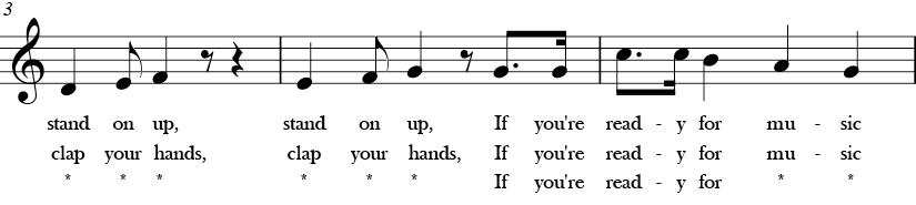 C Major. 4/4 Time signature. Second three measures of If You're Ready for Music.