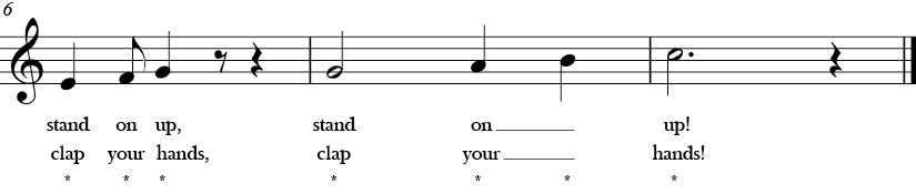 C Major. 4/4 Time signature. Last three measures of If You're Ready for Music.