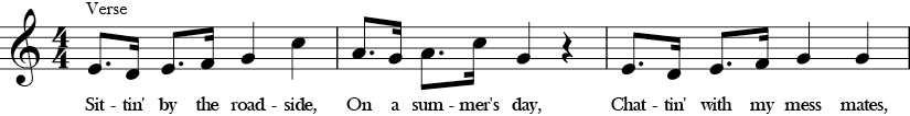 C Major. 4/4 Time signature. First three measures of Goober Peas.