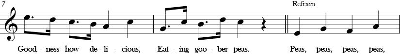 C Major. 4/4 Time signature. Third three measures of Goober Peas.