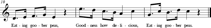 C Major. 4/4 Time signature. Last three measures of Goober Peas.