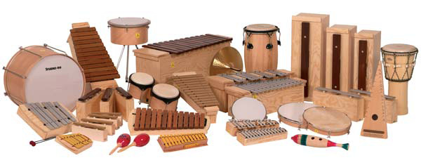 A variety of different Orff instruments. Around 25 in all from mallet instruments to a jembe.