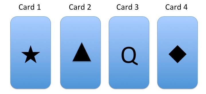 card1: star card 2: triangle card 3: q card 4: diamond