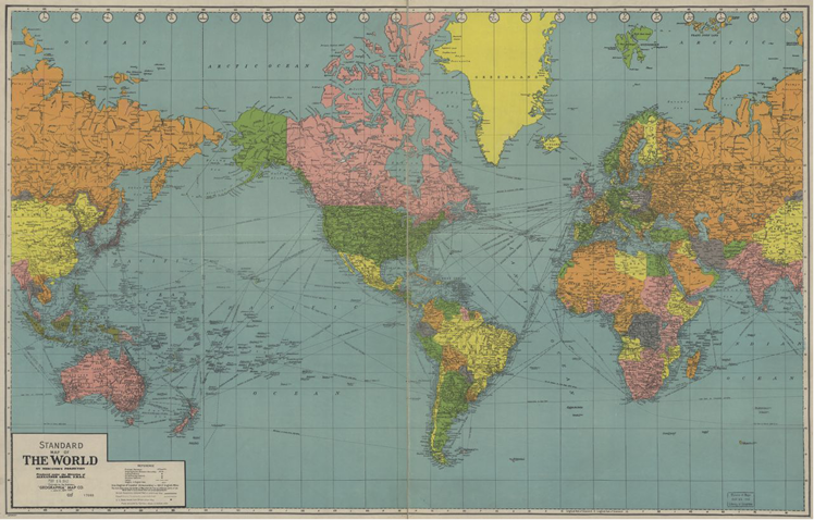 A map of the world. The American continents are in the center of the map. The Eurasian continent is split in the center, half of it on the right side of the map, and half on the left side of the map. This map still shows the USSR.