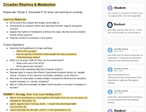 Screenshot of Google document on Circadian Rhythms & Metabolism showing learning objectives, course questions, and an outline of the chapter. Some text is highlighted, corresponding to comments from students and faculty on the right sidebar
