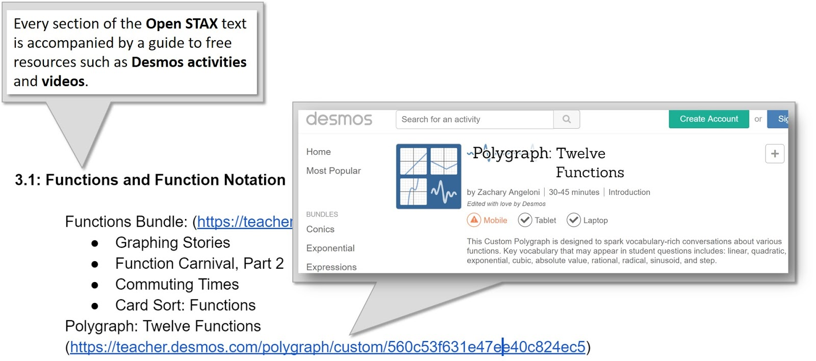 Screenshot with expanded link to Desmos Polygraph Twelve Functions activity