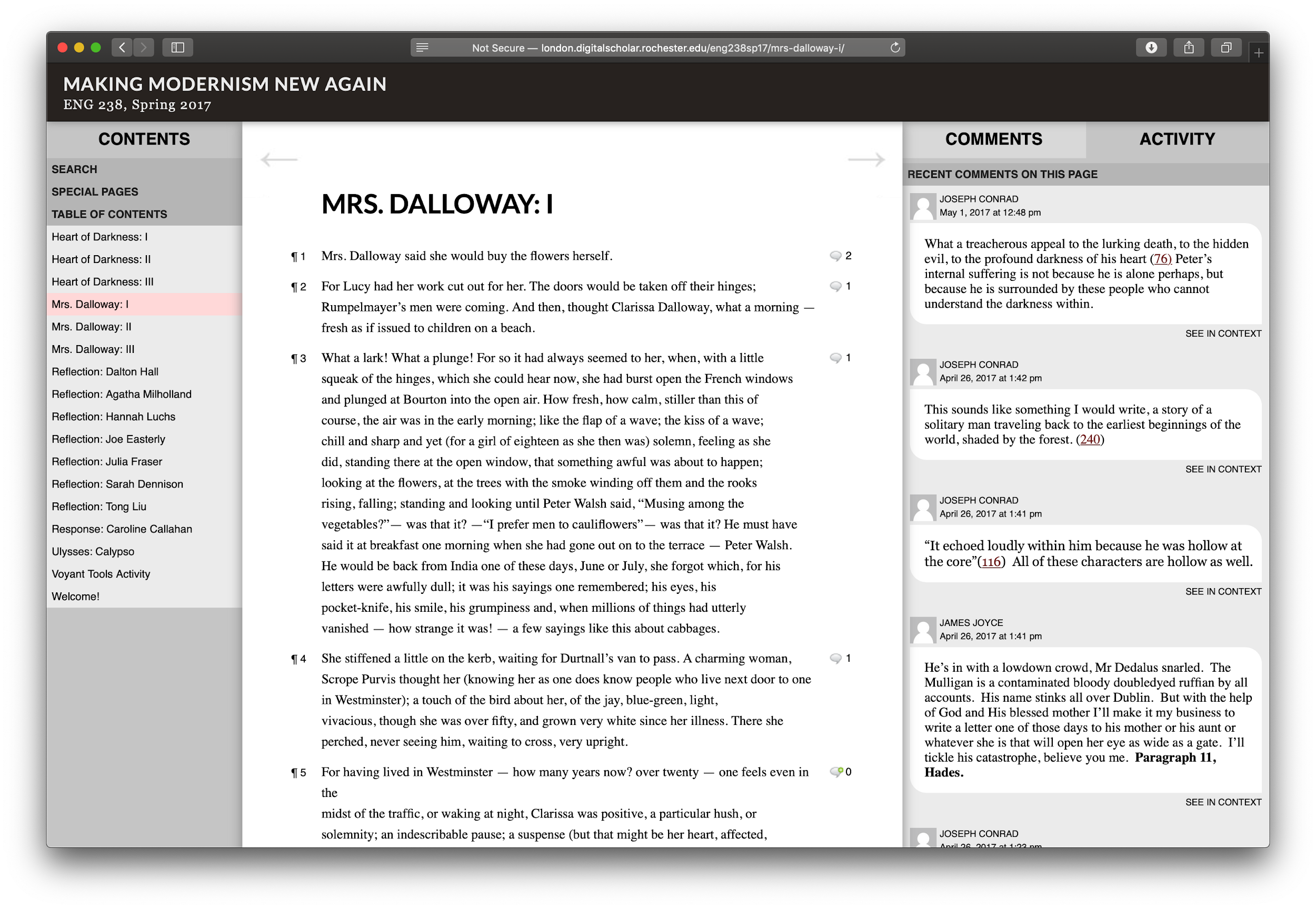 Contents menu on left, Mrs. Dalloway text in middle, comments thread on right
