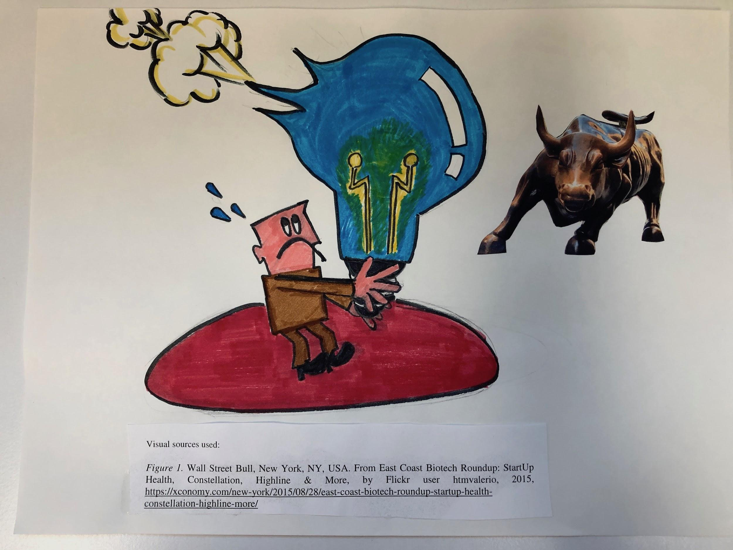 illustration of man holding giant lightbulb collapsing like a balloon, with Wall Street bull statue nearby