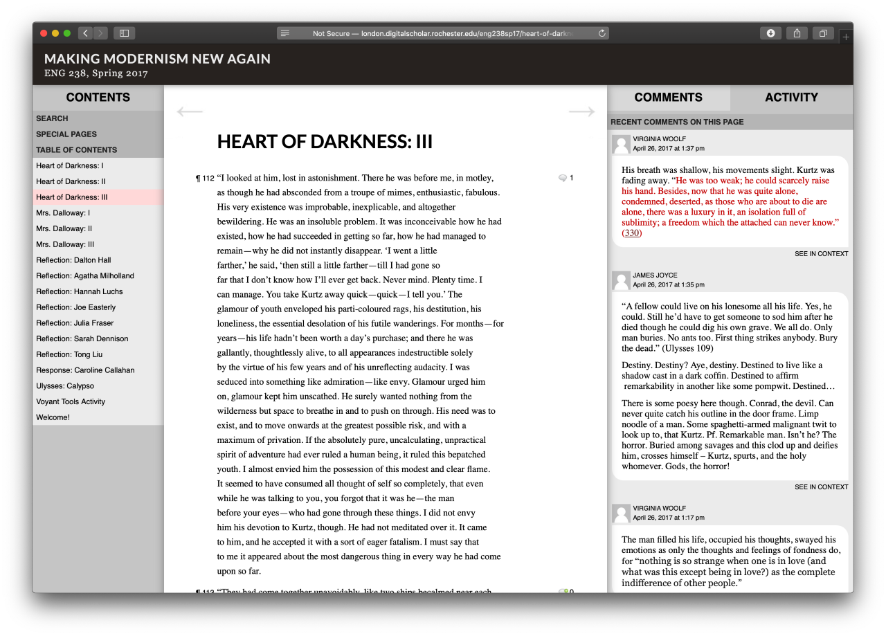 Contents menu on left, Heart of Darkness text in middle, comments thread on right