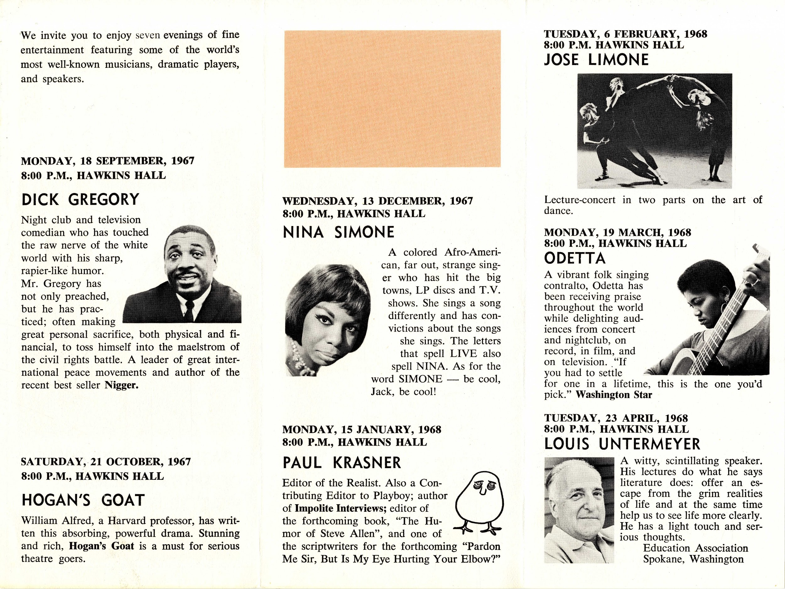 Trifold page featuring dates across 1967-8 of performers in the series, some with headshots. Central is Nina Simone