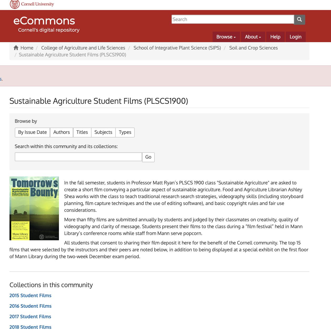 Screenshot of Cornell eCommons Student Films