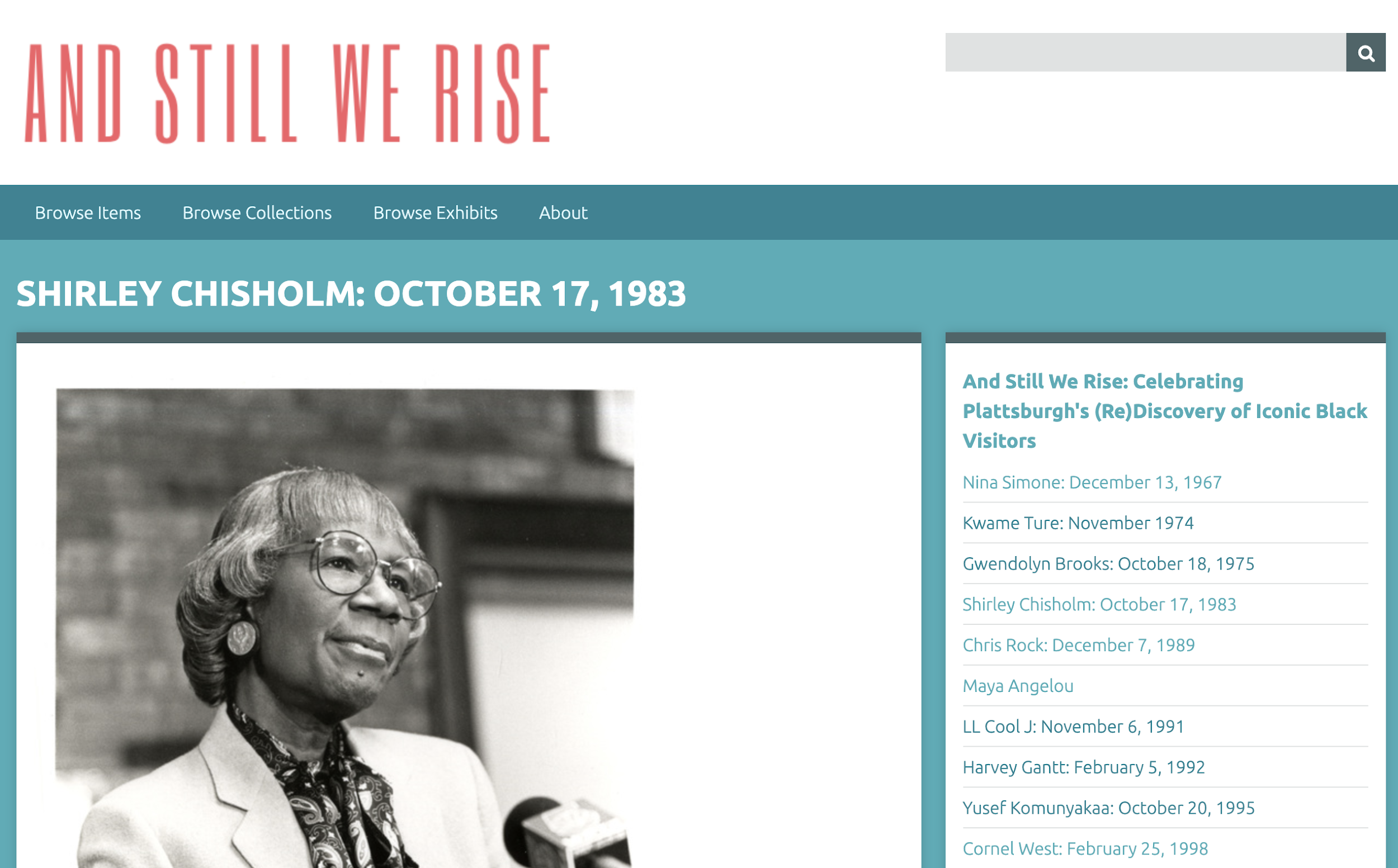 Screen shot ASWR Omeka page, Shirley Chisholm: October 17, 1983