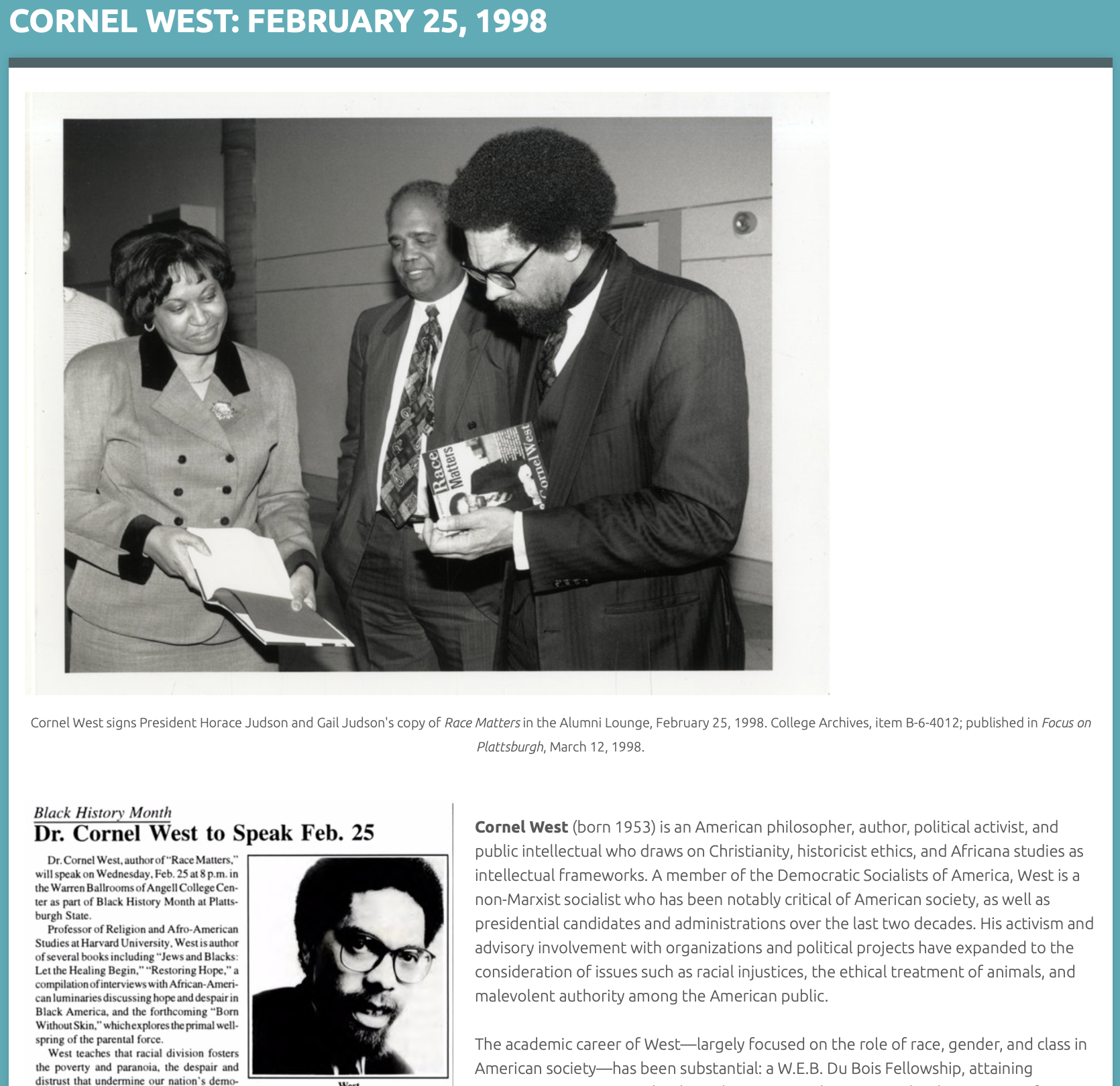 Omeka ASWR page of Cornel West: February 25, 1998
