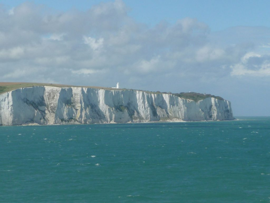 white cliffs shown from the ocean