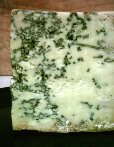 close up of blue stilton cheese showing the pockets of hyphe