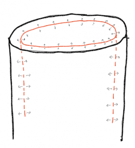 An image showing one, smaller cross section of a stem in red, arrows pointing in either direction to a bigger cylindrical stem cross-section drawn in black