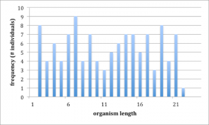 Graph which shows a rising and falling in organism lengths