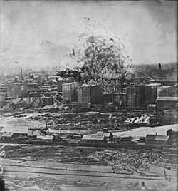 The artistic representation of Washburn A Mill's factory explosion